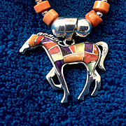 Artisan Sterling Silver Gem Inlaid Horse Heishi Necklace, 16-1/2 to 18-1/4 Inches