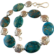 Imperial Jasper Southwestern Concho Necklace, 17-1/4 Inches