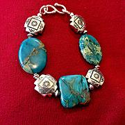 Imperial Jasper Southwestern Concho Bracelet, 8 Inches