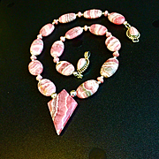 Argentinian Rhodochrosite Necklace with Custom Clasp, 18 Inches