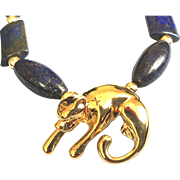 Panther Totem Necklace of 18K Gold Vermeil & Lapis Lazuli, 20-3/4 Inches