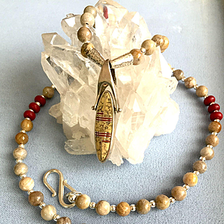 Gray Fossil Coral Necklace with Native American Pendant, 20-3/4 Inches