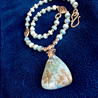 "Orchid Essence Necklace (""Releasing Karmic Patterns"") of Larimar & Sterling, 18 Inches"