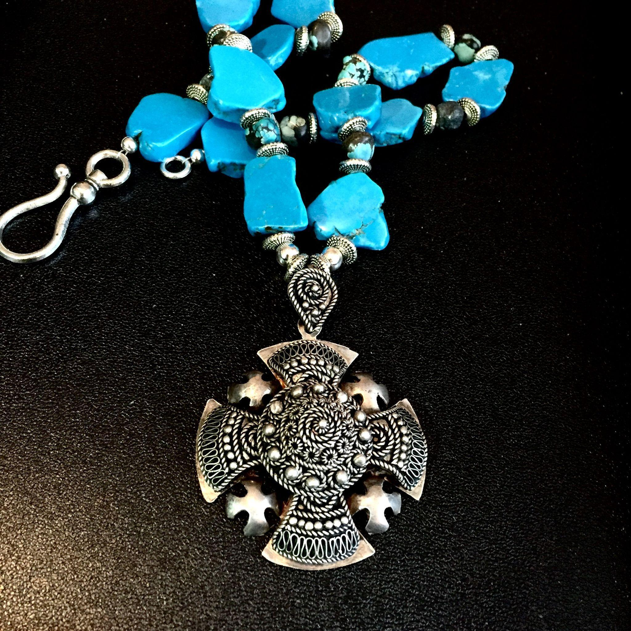 Turquoise Necklace with Vintage Sterling Jerusalem Cross, 17-7/8 Inches