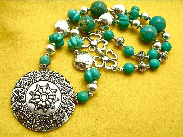 Southwest Style Turquoise & Sterling Necklace, 23 Inches