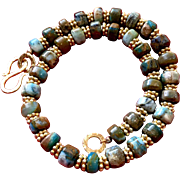 Peruvian Blue Opal and 14K Gold Vermeil Necklace, 16-5/8 Inches