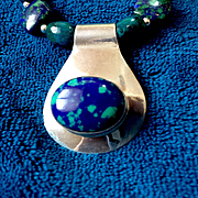 Azurite Malachite and Sterling Silver Necklace, 18-1/2 Inches
