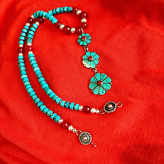 Turquoise, Carnelian and Sterling Silver Necklace, 17-1/2 Inches