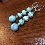 Larimar & Sterling Silver Earrings: Custom Order for Sara