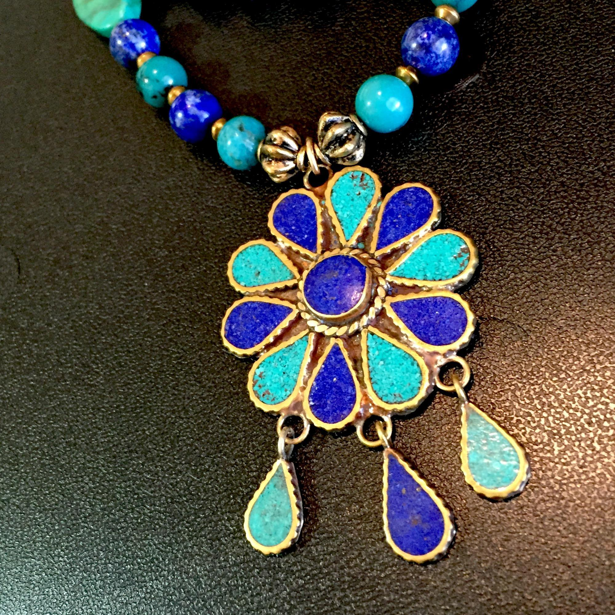 Turquoise, Lapis and Brass Necklace, 20-3/8 Inches