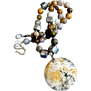 Ocean Jasper and Sterling Silver Necklace, 20-1/4 Inches