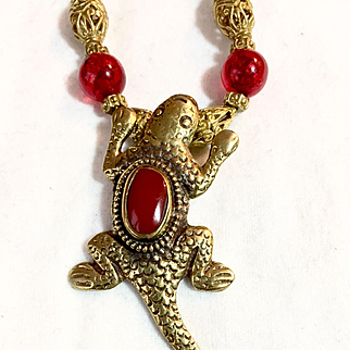 Fibonacci Necklace of Brass and Resin with Lizard Pendant, 21-1/4 Inches