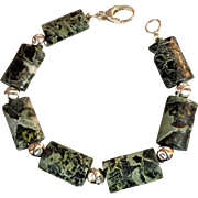 Unisex Green Jasper and Sterling Silver Bracelet, 8-3/8 Inches