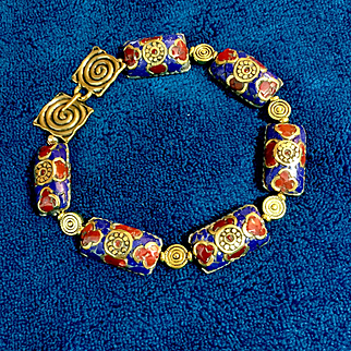 Handmade Nepalese Brass, Lapis and Coral Bracelet, 9 Inches