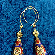 Handcrafted Nepalese Brass, Lapis and Coral Earrings, 2-3/4 Inches