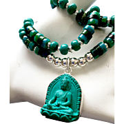 Buddha Necklace of Turquoise and Sterling Silver, 17-1/4 Inches