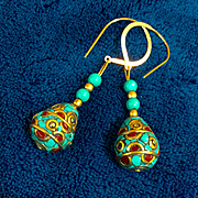Handcrafted Nepalese Brass, Turquoise and Coral Earrings, 2-3/8 Inches