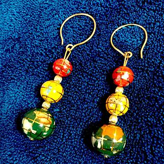 Custom Order for DB: Semi-Precious Gem Globe Earrings, 2 Inches