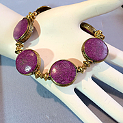 Rustic Brass and Purple Howlite Bracelet, 7-7/8 Inches