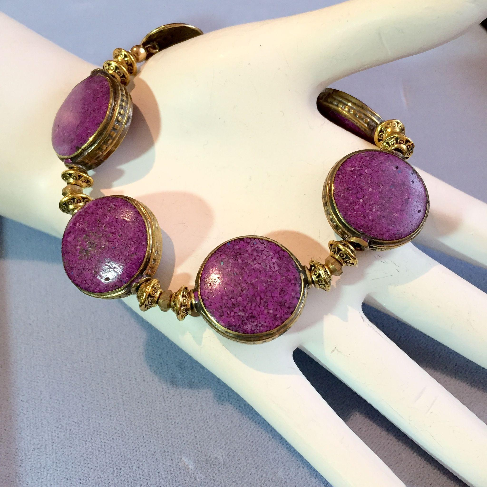 Rustic Brass and Purple Howlite Bracelet, 8-1/2 Inches