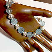 Blue Topaz and Sterling Silver Bracelet, 7-1/2 Inches