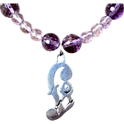 Foxy Lady Necklace of Amethyst and Sterling Silver, 19 Inches