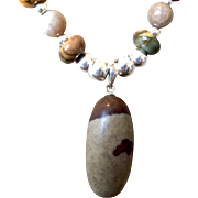 Man's Shiva Lingam Necklace of Red Creek Jasper, Gray Fossil, and Sterling Silver, 19-3/8 Inches