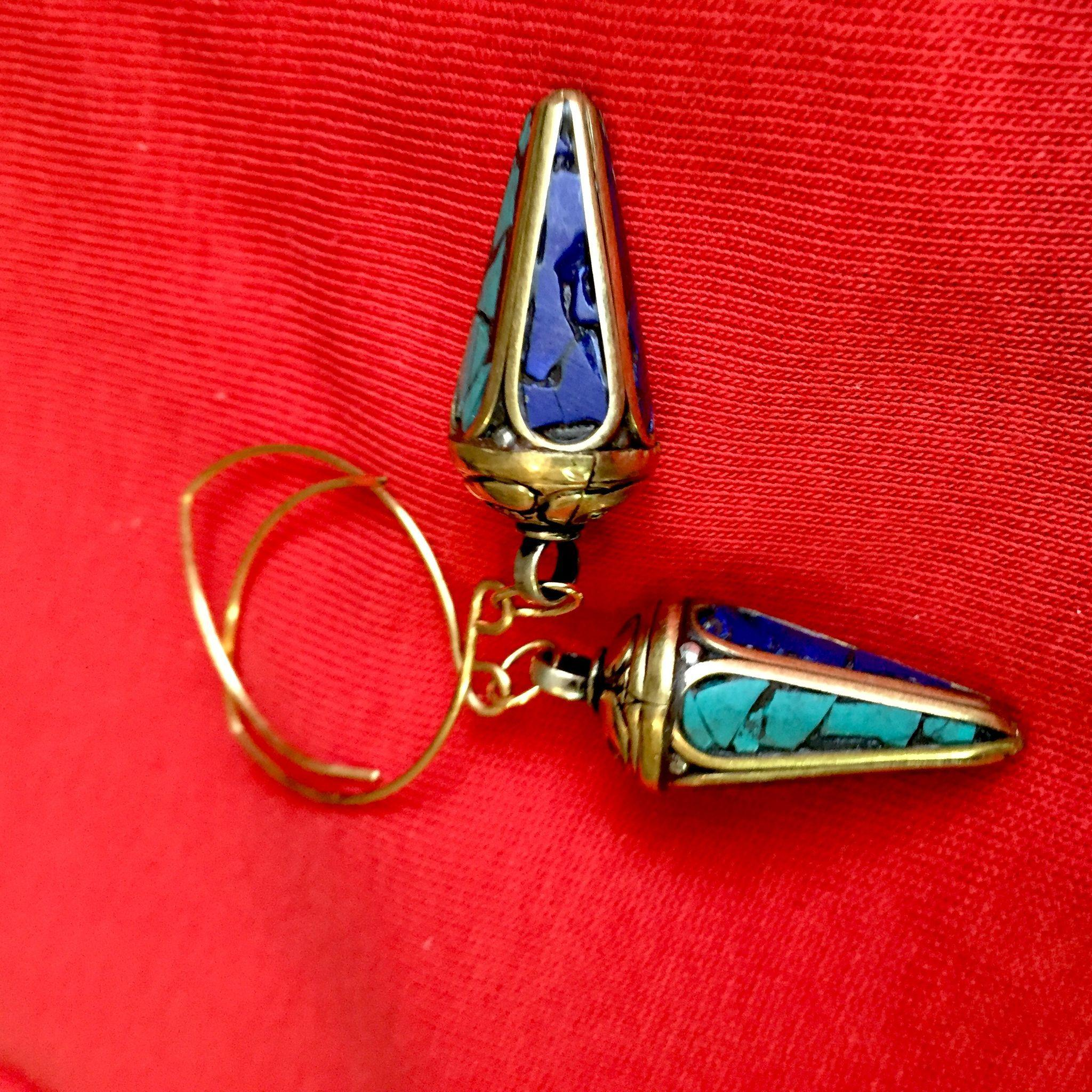 Nepalese Brass, Turquoise and Lapis Earrings, 2-1/2 Inches