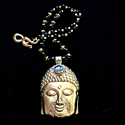 Buddha Necklace of Brass and Black Onyx, 23-1/2 Inches