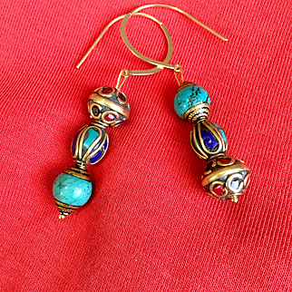 Asymmetrical Nepalese Earrings, 2-1/2 Inches
