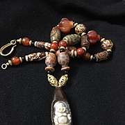 Tibetan Old Agate Dzi Bead Necklace, 23 Inches