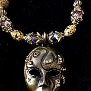 Bling Bling Brass & Crystal Face Mask Necklace, 21-1/2 Inches