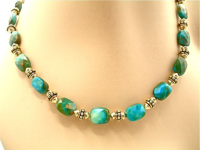 Peruvian Blue Opal Necklace, 18-3/4 Inches