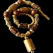 Nepalese Prayer Totem with Brass and Tibetan Dzi Beads, 24 Inches