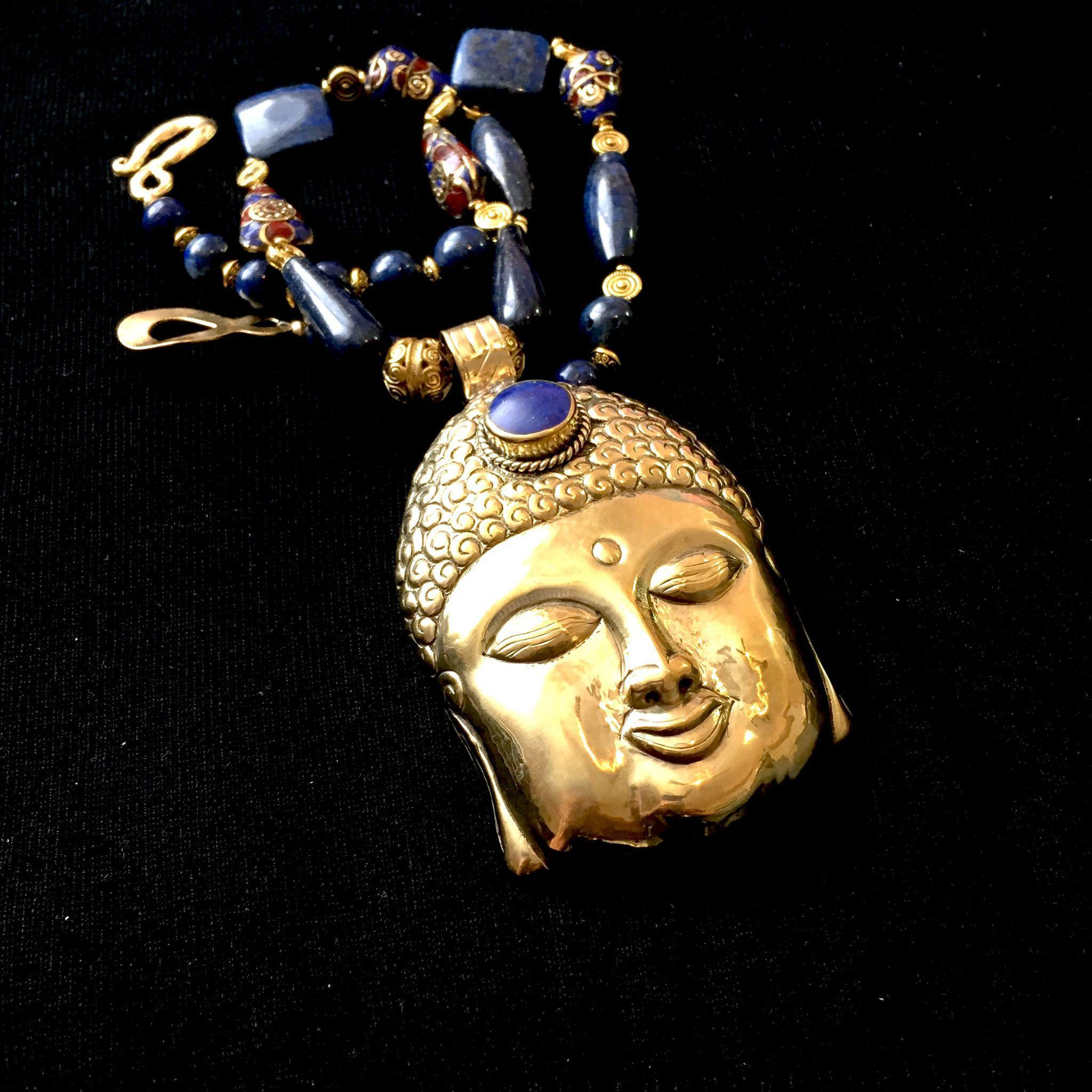 Buddha Necklace of Brass and Lapis Lazuli, 23 Inches