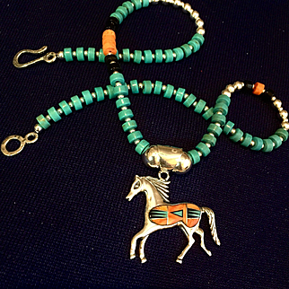 Asymmetrical Heishi Necklace with Sterling Silver Gem Inlaid Horse Pendant, 18-3/4 Inches