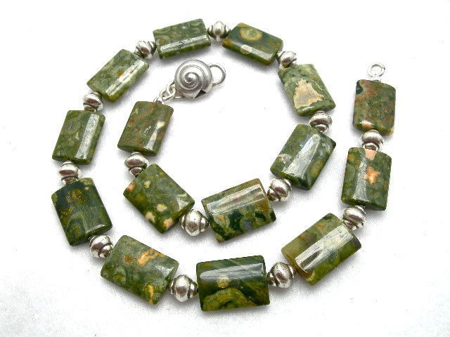 Man's Rhyolite & Sterling Necklace, 18 Inches