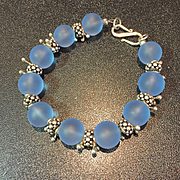 Custom Order Frosted Blue Sea Glass Bracelet, 7-3/4 Inches