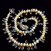 Ethiopian Welo Opal Necklace, 15-3/4 to 18-3/4 Inches