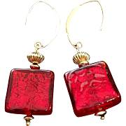Holiday Earrings in Venetian Red Glass and Gold Fill, 2-3/8 Inches
