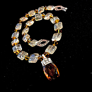Natural Golden Citrine Necklace with Pendant, 18-1/2 Inches