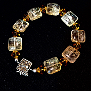 Natural Golden Citrine Bracelet, 8 Inches