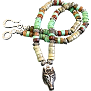 Wolf Head Heishi Necklace, 19 Inches