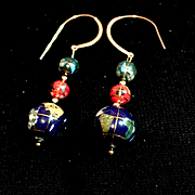Globe-Trotting Earrings of Lapis, Gold-Fill and More, 2-3/8 Inches