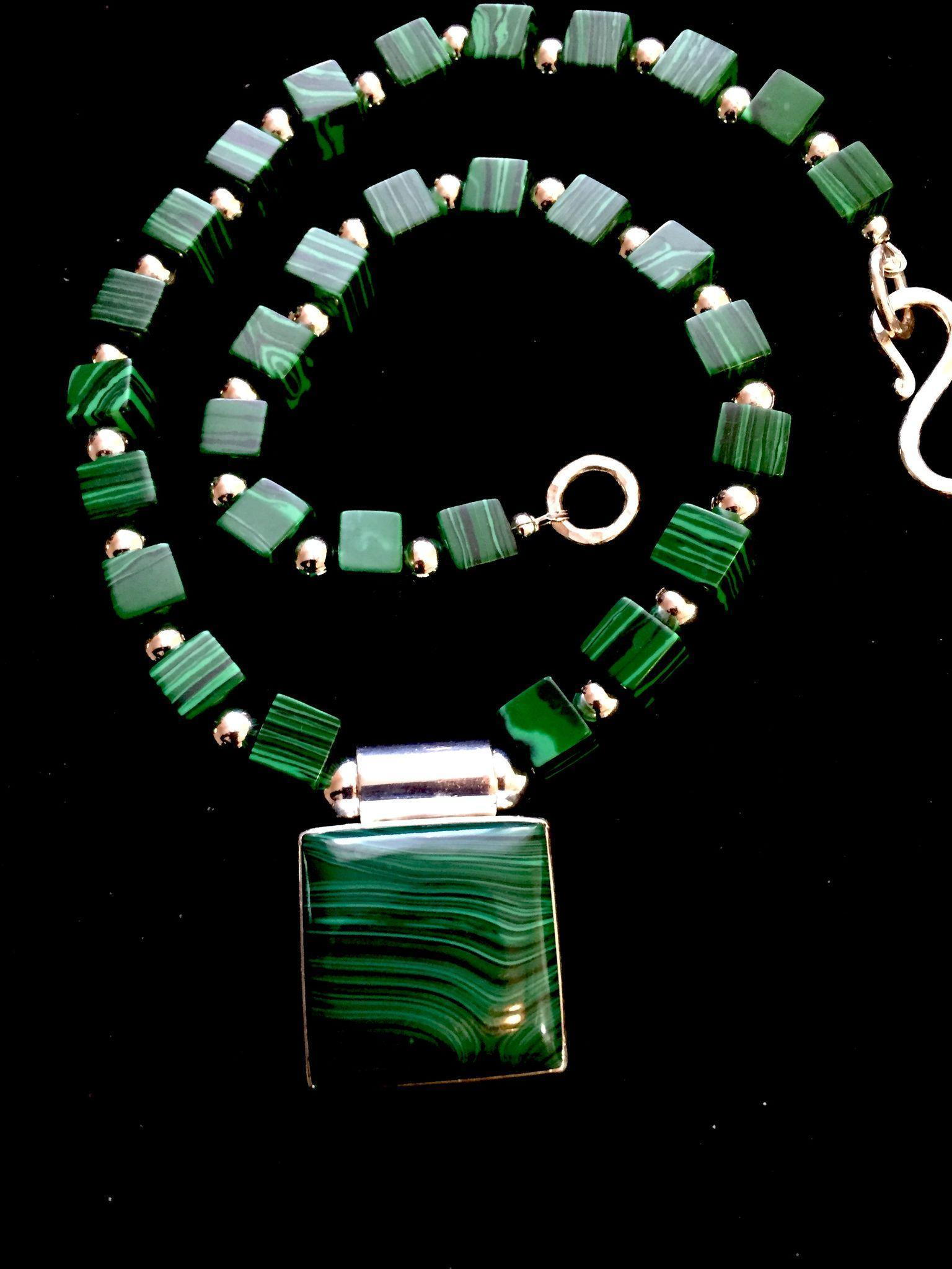 Malachite and Sterling Silver Choker, 19 Inches