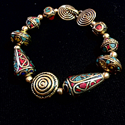 Ethnic Bracelet of Handmade Nepalese Brass Beads, 8-1/4 Inches