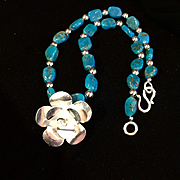Sleeping Beauty Turquoise Necklace with Sterling Silver Rose, 18-5/8 Inches