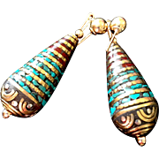 Exotic Nepalese Post Earrings, 1-3/4 Inches