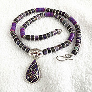 Purple Teardrop Heishi Necklace, 18 Inches