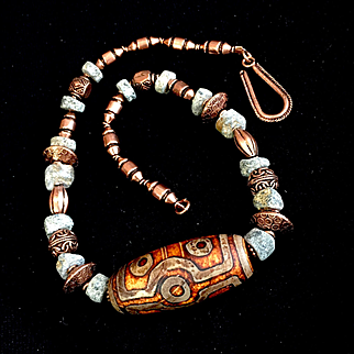 Man's Shades of Antiquity Necklace of Agate, Copper and Granite, 19-1:4 Inches